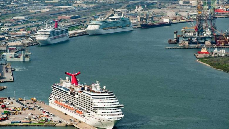 Galveston Cruise ship terminal shows ships in line for