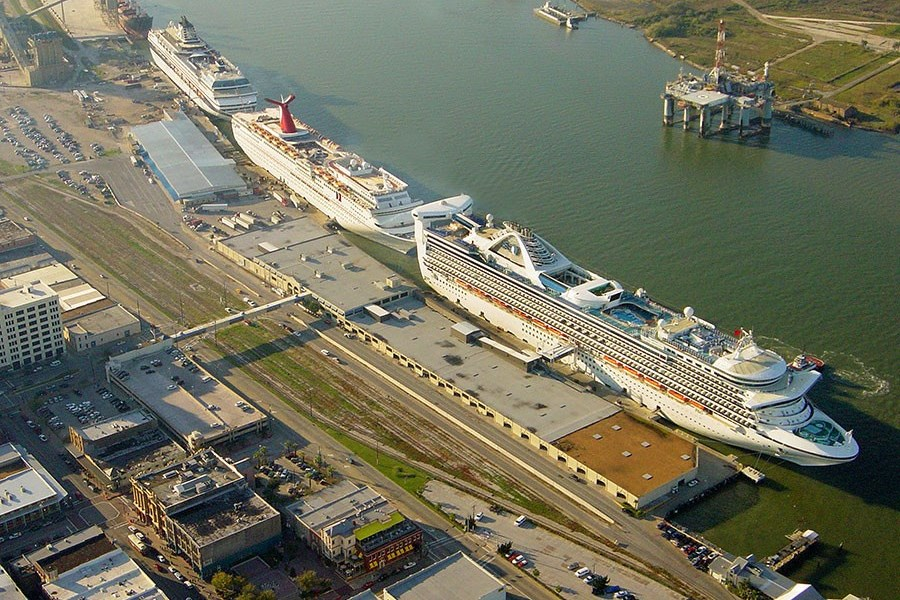 Cruise ships in line in Galveston