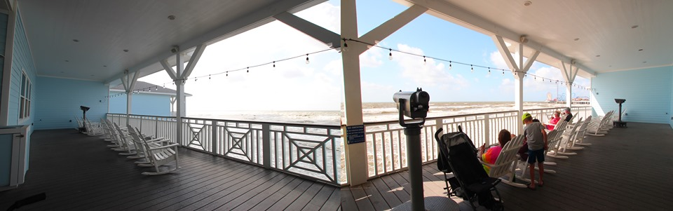 Murdoch's viewing deck over the bay on Seawall                 Blvd.
