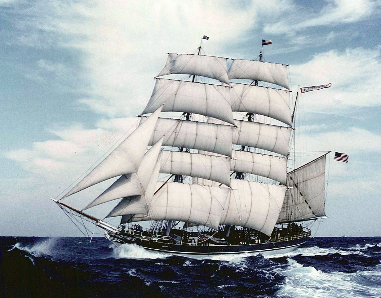 Tall ship Elissa out of Galveston in full sail in